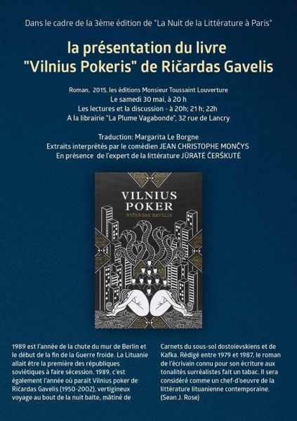 """Event of """"Literature night"""" a book in French by a Lithuanian author – Ričardas Gavelis"""