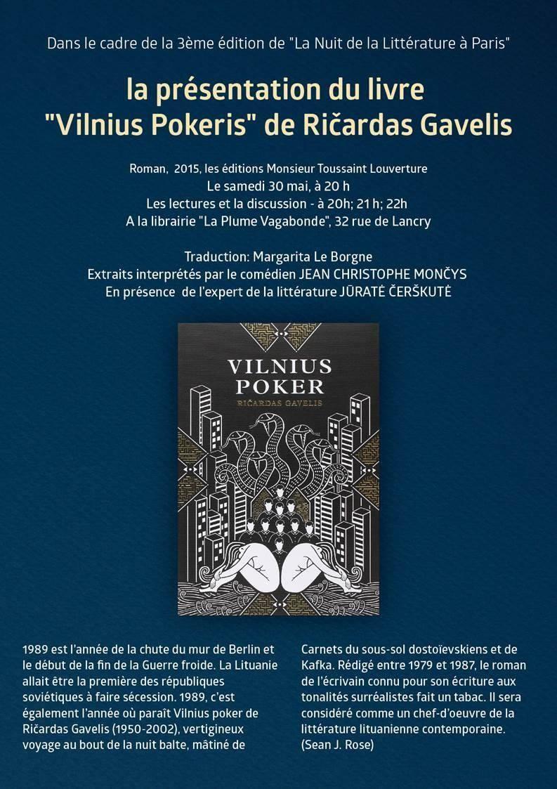"""Lecture-présentation du livre """"Vilniaus Pokeris"""" le 30 mai à Paris"""
