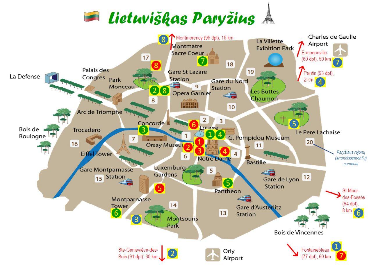 Lietuviškojo Paryžiaus žemėlapis-lankstinukas