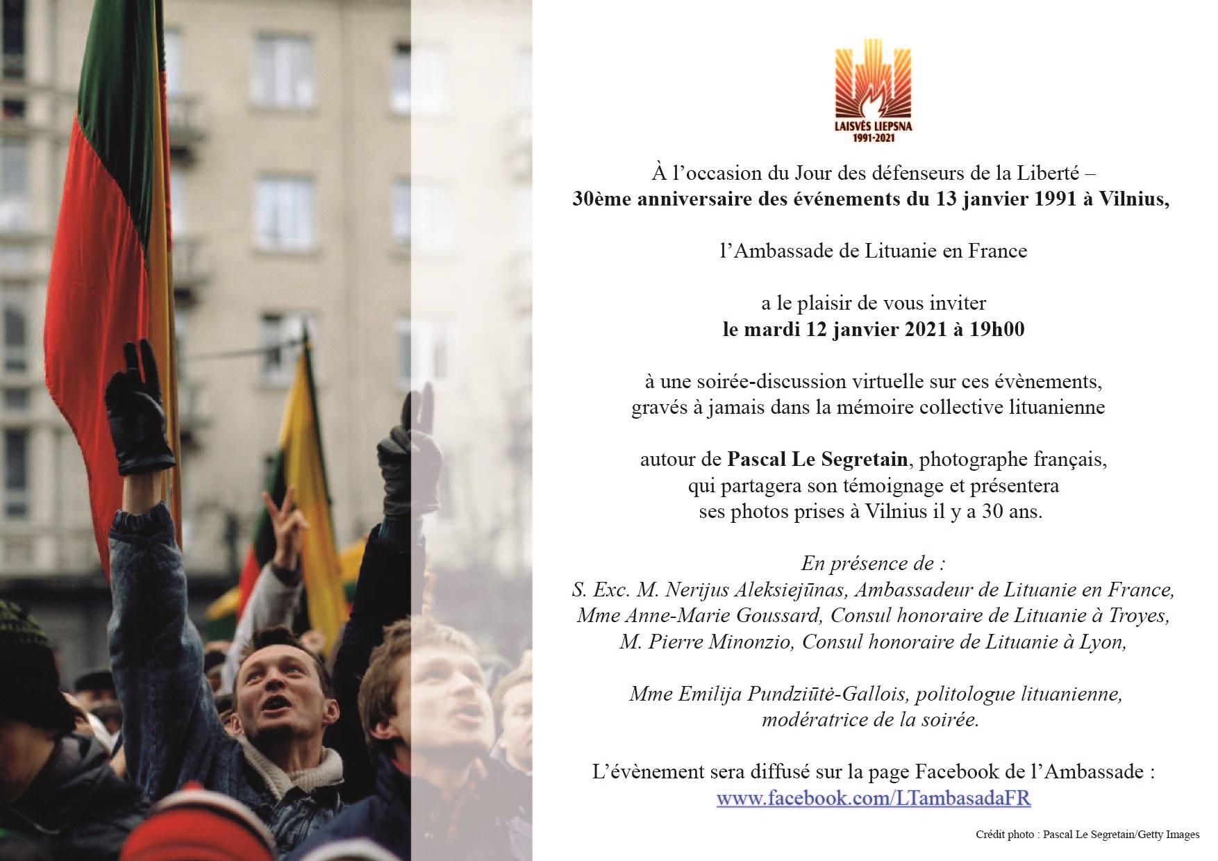 Commémoration virtuelle du 30ème anniversaire des événements du 13 janvier 1991 à Vilnius