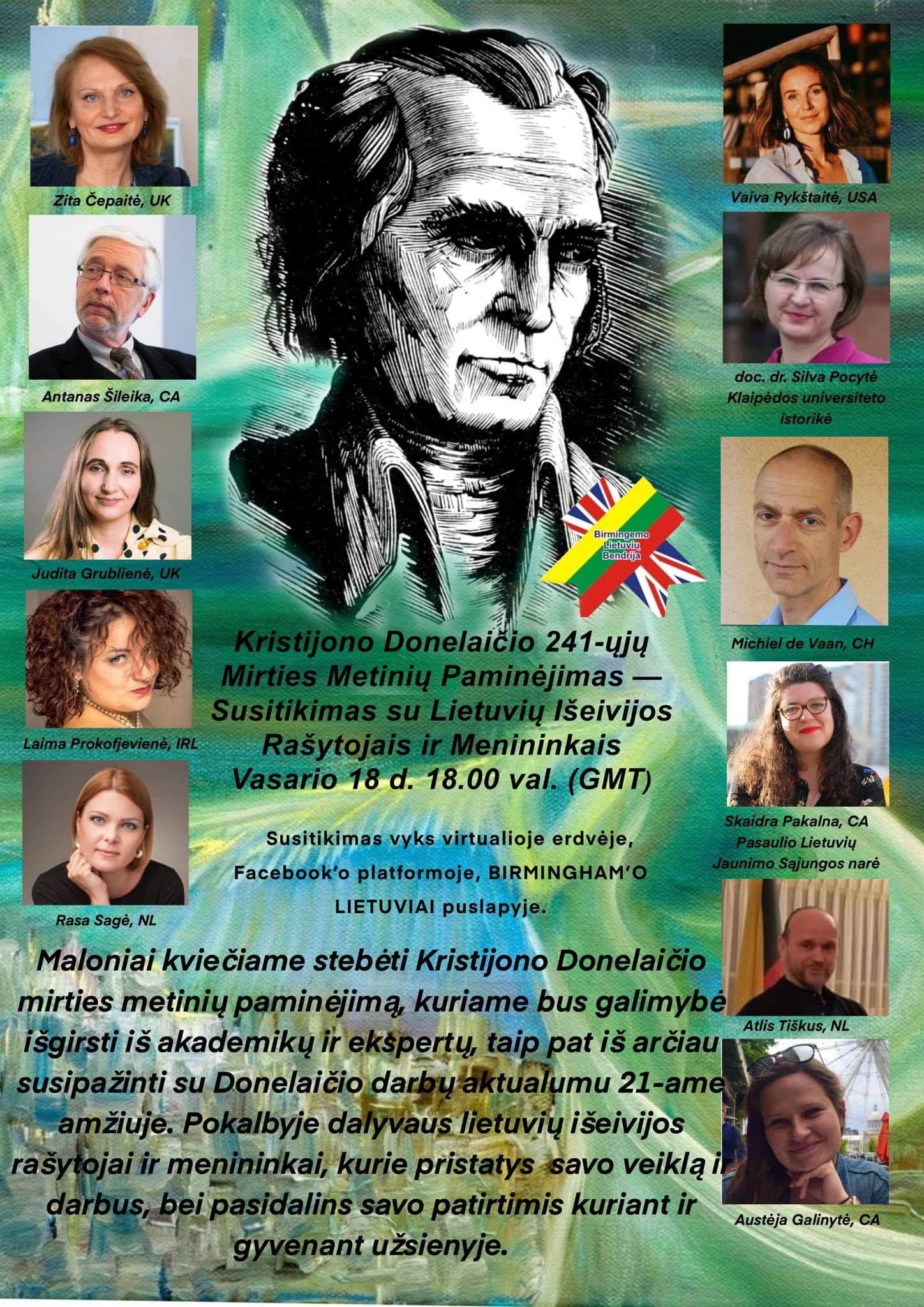 K.Donelaičio mirties metinių minėjimas kartu su lietuvių rašytojais ir menininkais