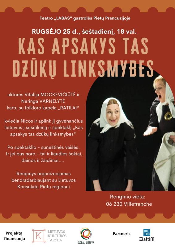 """Rugsėjo 25 d. 18 val. Teatras """"Labas"""" kviečia Nicos gyvenančius lietuvius į spektaklį """"KAS APSAKYS TAS DZŪKŲ LINKSMYBES"""""""